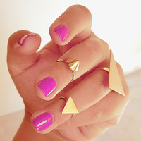 Gold Triangle above knuckle ring