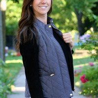 Micro-Suede Trim Quilted Vest, Dark Gray