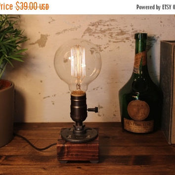 15% OFF SALE Industrial pipe lamp-Unique table lamp-Steampunk table lamp-Vintage style lamp light-Edison bulb lamp-Bedside lamp light-Rustic