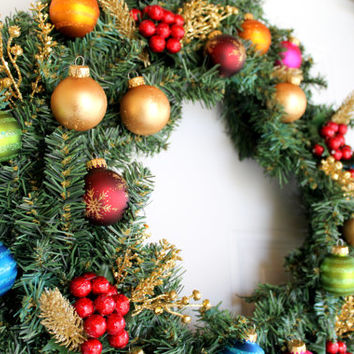 Christmas Ornament Wreath // evergreen and ornaments // 18 inch diameter