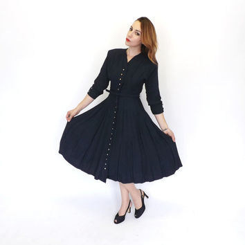 Vintage Classic 1940's 50s Navy Blue Wool Day Dress Button Up Shirt Dress Medium Nautical Dress 40s Travel Midi Tea Dress Full skirt Pin Up