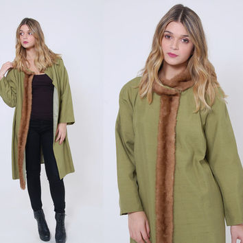 Vintage 50s SILK Coat with MINK Collar Green Shantung Silk EVENING Jacket Fur Coat