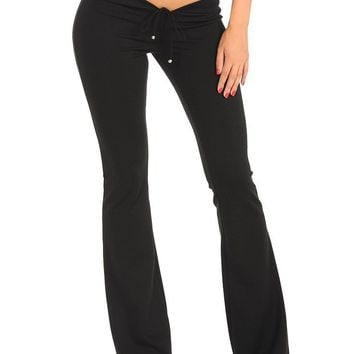 Hot Sexy Lace Fold Flare Pants Black U Crotch Low Rise Waist Pants Skinny Long Trousers Sexy Denim Pants Casual Bell Bottoms 100