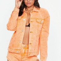 Missguided - Orange Washed Denim Jacket