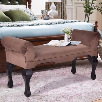 "Giantex 45"" Microfiber Rolled Arm Bed Bench Seat Chair Upholstered Wood Leg Brown Living Room Sofa HW56297"