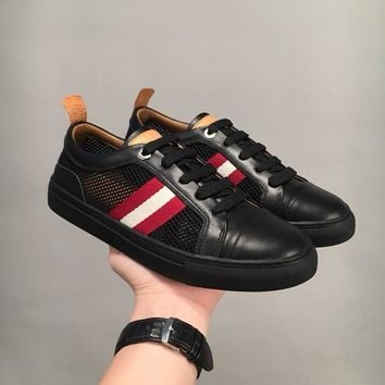 Bally Hendrik Men's Perforated Calf Leather Trainer In Black Sneakers Shoes Sale