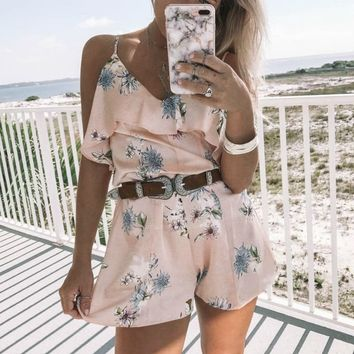 Little Things Rose Satin Romper