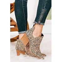 It's Wild Ankle Cut Out Booties (Tan/Black Leopard)
