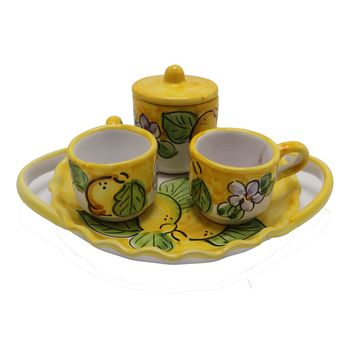 Vietri Lemons Espresso Cup Set With Tray, Sugar Cup & Two Espresso Cups