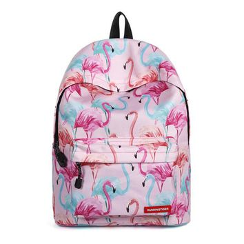 School Backpack trendy Backpack woman 2018 school bags for teenage girls flamingo bag women's printed middle  flamingo lovely schoolbag AT_54_4