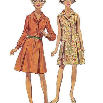 Vintage 1970s Simplicity 8003 Women's Shirtdress with Inverted Pleats Skirt - Cuffed Sleeves Dress - Bust 40/ Size 18 -UNCUT Sewing Pattern