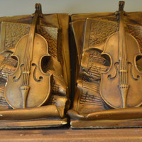 Violen and Sheet Music Bookends by Universal Statuary Corp Chicago , gift for musician , cello gift, musical bookends, music decor