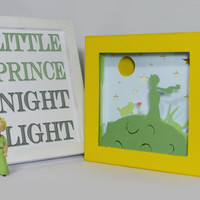 The little prince shadow box night light, Special night light, unique special gift, kids room night light, home decor