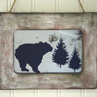 Rustic Home Decor Grizzly Bear in the Forest Antiqued Mirror Wall Art Log Cabin Mountain Home Country