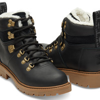 BLACK WATERPROOF LEATHER WOMEN'S SUMMIT BOOTS