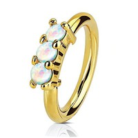 Nose Ring Hoop Tragus Helix Earring Crown Opal Gold Stainless Steel 20G Body Piercing Jewelry