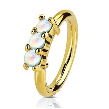 BodyJ4You Nose Ring Hoop Tragus Helix Earring Crown Opal Goldtone Stainless Steel 20G Body Piercing Jewelry