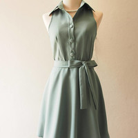 DOWNTOWN Sage Green Dress Shirt Dress Working Casual Dress Bridesmaid Dress Vintage Inspired La La Land Style Fashion Dress no#198