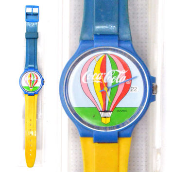 Vintage 80s Swatch Swiss Watch Coca-Cola Hot Air Balloon Pop Art
