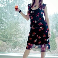 SHEER FLORAL OVERLAY KNIT DRESS | erosdiy - Clothing on ArtFire