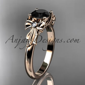 14kt rose gold diamond unique engagement ring, wedding ring with a Black Diamond center stone ADER154