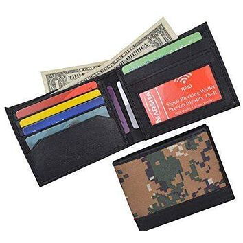 Camouflage RFID Blocking Soft Leather Men's Camo Simple Sim Thin Credit Card ID Holder Bifold Military Style Wallet