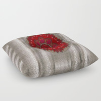 Strawberry  with waffles and fantasy-flowers in harmony Floor Pillow by Pepita Selles