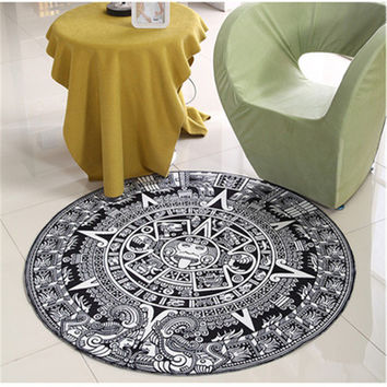Totem Round Mat Printed Soft Carpet Black and White Bath Rugs Kids Doormats for Living Room 4 Sizes
