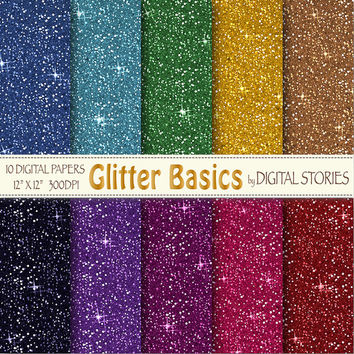 "Glitter Digital Paper: ""GLITTER BASICS"" Colorful Glitter, shiny  textured scrapbook papers for invites cards, crafts - Buy 2 Get 1 Free"