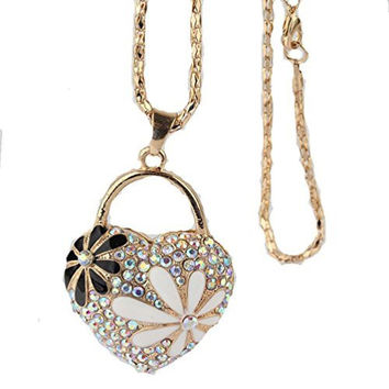 Women's Gold Tone Heart With Crystals And Daisy Necklace ,(Filigree Daisy On Back)