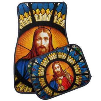 Jesus Stained Glass Car Mat