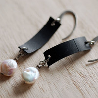 Black rubber rectangle earrings with white coin shaped round freshwater pearls & stainless steel ear hooks , upcycled bike tire inner tube