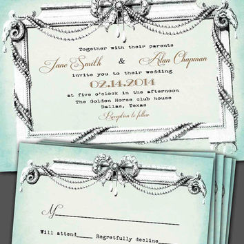 Elegant, French, romantic, pearls, vintage inspired, pocketfold wedding invitation suite.