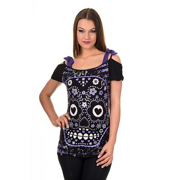 Purple Candy Flower Sugar Skull Bow Tie Shoulder Straps Top