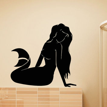 Mermaid Wall Decal Vinyl Sticker- Mermaid Wall Sticker- Sea Ocean Wall Decals Mermaid Wall Art Nursery Bathroom Girls Wall Decor Murals Z822