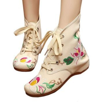 Vintage Beijing Cloth Shoes Embroidered Boots 11-01   beige  35