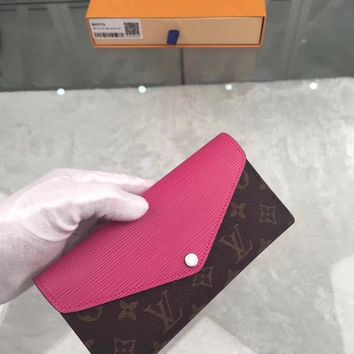 LV Louis Vuitton Women Shopping Fashion Leather Zipper Wallet Purse