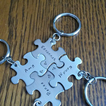 Hand Stamped Best Friends Puzzle Piece Keychains Family Bridal Party Sports Team Gifts Bridesmaids - Set of 4