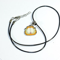 Garfield the Cat Charm Cartoon Necklace - boys necklace - girls teens womens necklace
