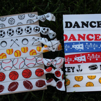 You Choose 1 Add a Sport Football Hair Ties bracelet Stretch Fold Over Elastic
