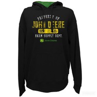 John Deere Mens Property Of JD Fleece PO Hoodie- Black