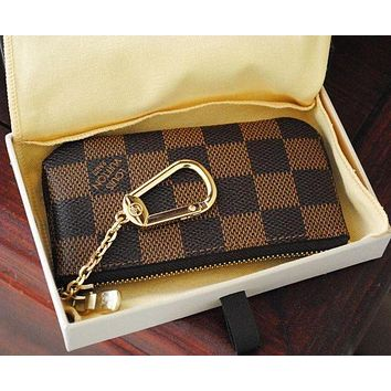 Louis Vuitton LV Fashion Household Zipper Key Pouch Clutch Bag Coin Purse Wristlet I