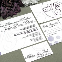 Ombre Circles | Modern Wedding Invitation Suite by RunkPock Designs | Gradient Fading Circles and Dots Script Monogram Invitation design | shown in black, eggplant and plum purple