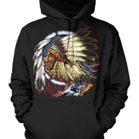 Indian Chief Mens American Indian Sweatshirt, Native American With Feather Headdress Pullover Hoodie, XX-Large, Black
