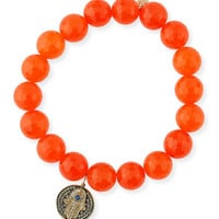 Sydney Evan 10mm Orange Agate Beaded Bracelet with Diamond & Sapphire Hamsa Charm