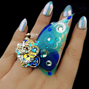 Steampunk ring, butterfly ring, blue ring, silver steampunk, filigree ring, cocktail boho ring, OOAK, magic ring, watch gear ring, art
