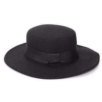 Men Women Boater Hat Sailor Wide Brim Fedora Felt Trilby Cap Flat-topped
