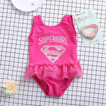 One Piece Bathing Suit Funfeliz Children swimwear Pink Supergirl  swimsuit with skirt girls swim wear Kids Beachwear Girl Bathing Suit KO_9_1