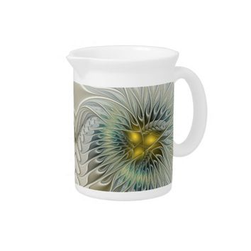 Golden Flower Fantasy, abstract Fractal Art Beverage Pitcher