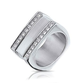 Mens CZ Engravable Rectangle Signet Ring Silver Tone Stainless Steel